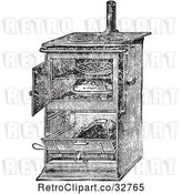 Vector Clip Art of Retro Antique Gas Cooking Stove with Food Baking in the Oven, in by Picsburg