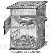 Vector Clip Art of Retro Antique Gas Cooking Stove with Food in the Oven, in by Picsburg