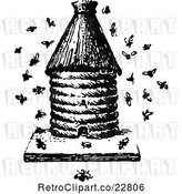 Vector Clip Art of Retro Apiology Bee Hive with a Swarm by Prawny Vintage