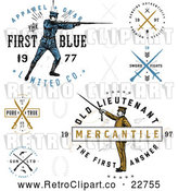 Vector Clip Art of Retro Apparel Labels with Guns, Swords and Soldiers by BestVector