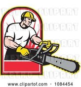 Vector Clip Art of Retro Arborist Holding out a Chainsaw by Patrimonio