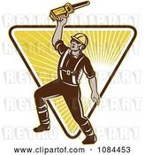 Vector Clip Art of Retro Arborist Holding up a Chainsaw by Patrimonio