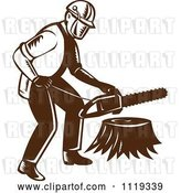 Vector Clip Art of Retro Arborist Tree Surgeon or Lumberjack over a Trunk by Patrimonio