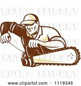 Vector Clip Art of Retro Arborist Tree Surgeon or Lumberjack Starting up a Chainsaw by Patrimonio