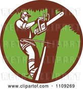 Vector Clip Art of Retro Arborist Tree Trimmer Using a Saw in a Green Circle by Patrimonio
