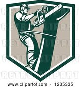 Vector Clip Art of Retro Arborist Tree Trimmer Using a Saw in a Shield by Patrimonio