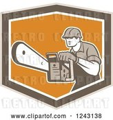 Vector Clip Art of Retro Arborist Using a Chainsaw in an Orange and Brown Shield by Patrimonio