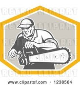 Vector Clip Art of Retro Arborist Using a Saw in a Crest by Patrimonio