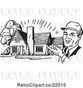Vector Clip Art of Retro Architect Presenting a House by BestVector