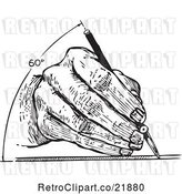 Vector Clip Art of Retro Architect's Hand Drawing at 60 Degrees by BestVector