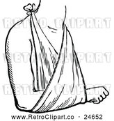 Vector Clip Art of Retro Arm in a Sling by Prawny Vintage