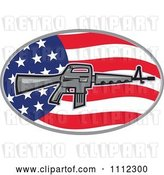 Vector Clip Art of Retro Armalite M-16 Colt AR-15 Assault Rifle over an American Flag Oval by Patrimonio