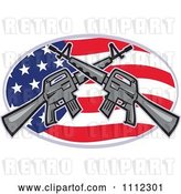 Vector Clip Art of Retro Armalite M-16 Colt Ar-15 Assault Rifles Crossed over an American Flag Oval by Patrimonio