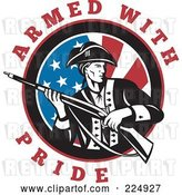 Vector Clip Art of Retro Armed with Pride Text Around a Revolutionary War Soldier Holding a Rifle over an American Flag by Patrimonio