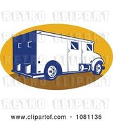 Vector Clip Art of Retro Armored Bank Van on a Yellow Oval by Patrimonio