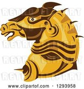 Vector Clip Art of Retro Armored Horse Head in Profile by Patrimonio