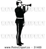 May 9th, 2018: Vector Clip Art of Retro Army Soldier Blowing a Horn by Prawny Vintage