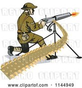 Vector Clip Art of Retro Army Soldier Shooting a Machine Gun by Patrimonio