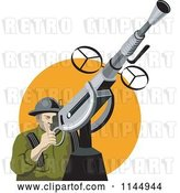 Vector Clip Art of Retro Army Soldier Shooting an Anti Aircraft Gun by Patrimonio