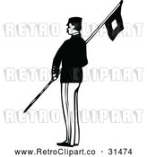 Vector Clip Art of Retro Army Soldier with a Flag 2 by Prawny Vintage
