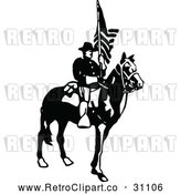 Vector Clip Art of Retro Army Soldier with a Flag 3 by Prawny Vintage