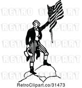Vector Clip Art of Retro Army Soldier with a Flag 4 by Prawny Vintage