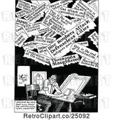 Vector Clip Art of Retro Artist and Headlines by Prawny Vintage
