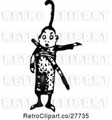 Vector Clip Art of Retro Asian Boy Pointing by Prawny Vintage