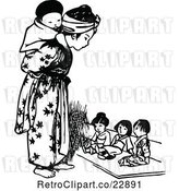 Vector Clip Art of Retro Asian Girl and Tiny KChildren by Prawny Vintage