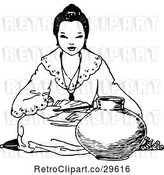 Vector Clip Art of Retro Asian Girl Sitting with a Pot by Prawny Vintage
