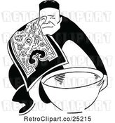 Vector Clip Art of Retro Asian Guy with a Bowl by Prawny Vintage