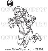 Vector Clip Art of Retro Astronaut Floating with Earth in the Background by BestVector