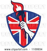 Vector Clip Art of Retro Athlete Holding up a Flaming Torch over a British Union Jack Flag Shield by Patrimonio