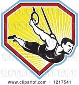 Vector Clip Art of Retro Athletic Guy on the Still Rings over a Shield of Ray by Patrimonio