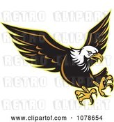Vector Clip Art of Retro Attacking Bald Eagle Logo by Patrimonio