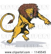 August 14th, 2018: Vector Clip Art of Retro Attacking Lion 1 by Patrimonio