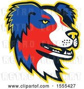Vector Clip Art of Retro Australian Shepherd Dog Mascot Head by Patrimonio