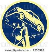 Vector Clip Art of Retro Auto Mechanic Working on a Car on a Lift in a Blue and Yellow Circle by Patrimonio