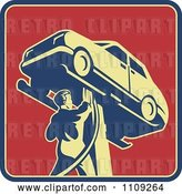 Vector Clip Art of Retro Auto Mechanic Working on a Car on a Lift on a Red Square by Patrimonio