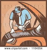 Vector Clip Art of Retro Auto Mechanic Working on an Engine by Patrimonio