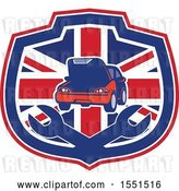 Vector Clip Art of Retro Auto Repair Design with a Car over Wrenches in a Union Jack Shield by Patrimonio