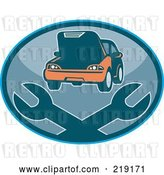 Vector Clip Art of Retro Auto Repair Logo with Wrenches by Patrimonio