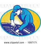 Vector Clip Art of Retro Automobile Mechanic Using a Socket Wrench on a Car Engine by Patrimonio