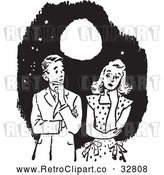 Vector Clip Art of Retro Awkward Teenage Couple Thinking Under a Full Moon in Black and White by Picsburg
