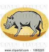 Vector Clip Art of Retro Babirusa Pig Against a Sunset Oval by Patrimonio