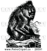 May 4th, 2018: Vector Clip Art of Retro Baboon Monkey Sitting on a Log by Prawny Vintage