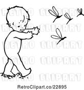 Vector Clip Art of Retro Baby Chasing Dragonflies by Prawny Vintage