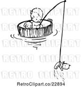 Vector Clip Art of Retro Baby Floating and Fishing in a Barrel by Prawny Vintage