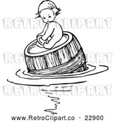 May 4th, 2018: Vector Clip Art of Retro Baby Floating and on a Barrel by Prawny Vintage