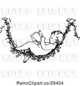 Vector Clip Art of Retro Baby Reading on a Flower Vine by Prawny Vintage